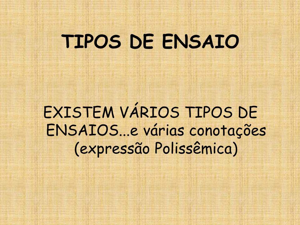 TIPOS DE ENSAIO EXISTEM VÁRIOS TIPOS DE ENSAIOS...e várias conotações (expressão Polissêmica)