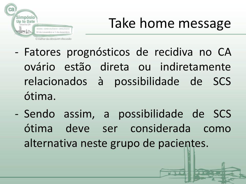 Take home message Fatores prognósticos de recidiva no CA ovário estão direta ou indiretamente relacionados à possibilidade de SCS ótima.