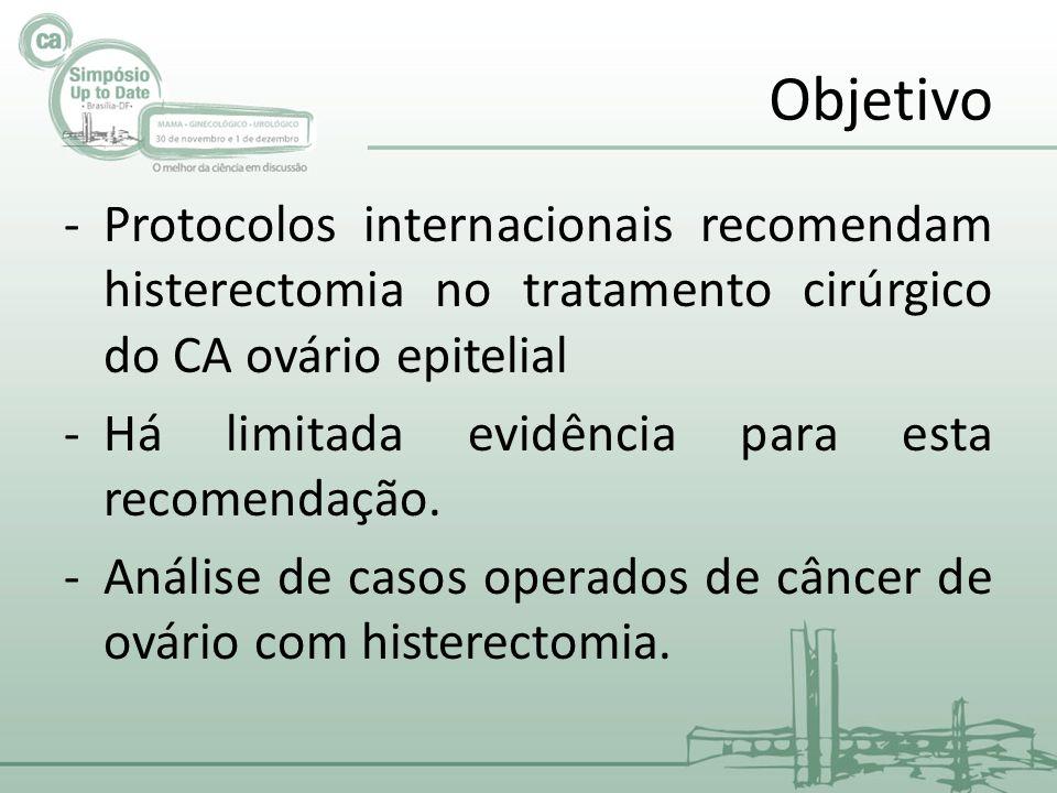 Objetivo Protocolos internacionais recomendam histerectomia no tratamento cirúrgico do CA ovário epitelial.