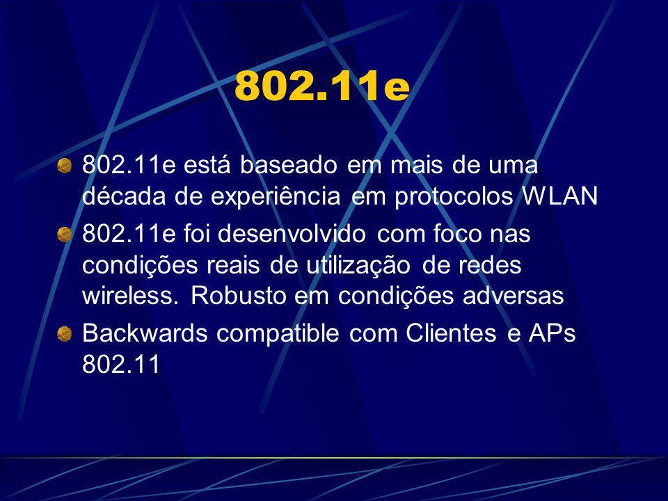 802.11e 802.11e está baseado em mais de uma década de experiência em protocolos WLAN.