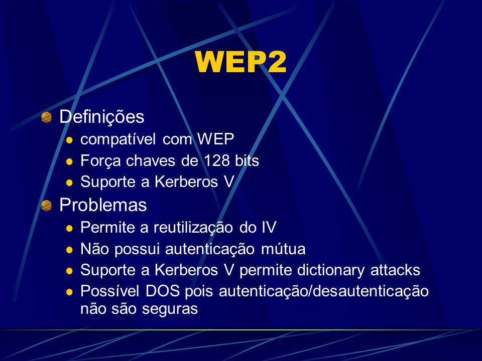 WEP2 Definições Problemas compatível com WEP Força chaves de 128 bits