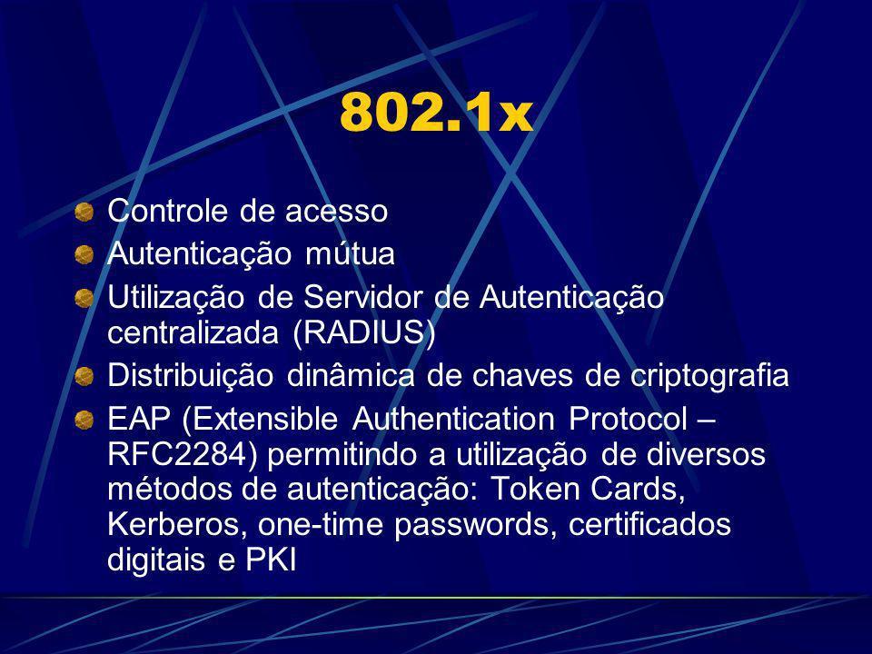802.1x Controle de acesso Autenticação mútua