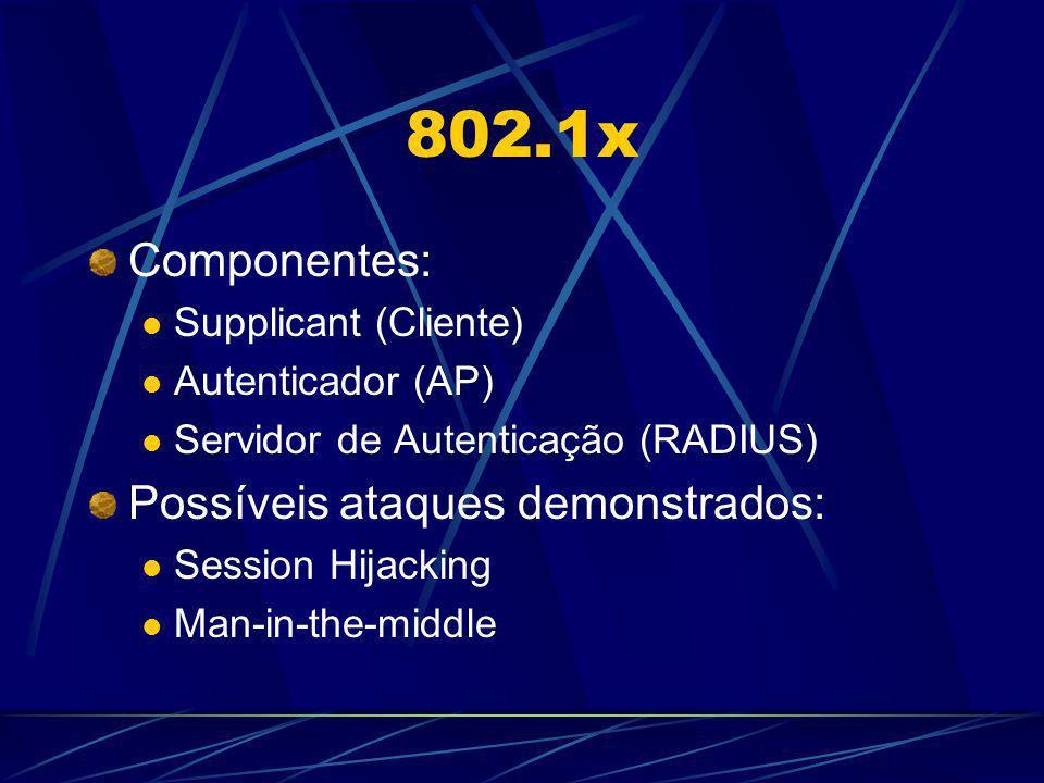 802.1x Componentes: Possíveis ataques demonstrados: