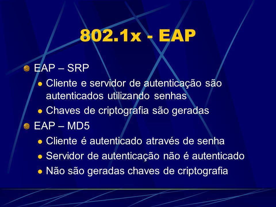 802.1x - EAP EAP – SRP. Cliente e servidor de autenticação são autenticados utilizando senhas. Chaves de criptografia são geradas.