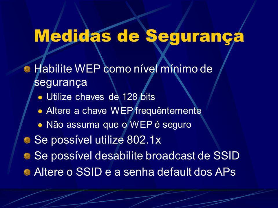 Medidas de Segurança Habilite WEP como nível mínimo de segurança