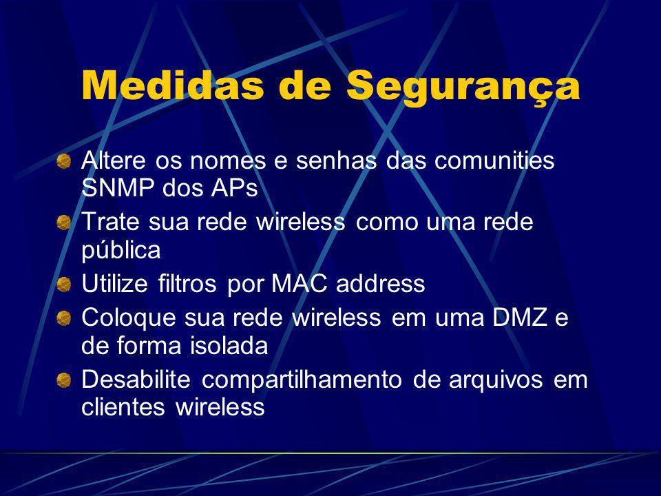 Medidas de Segurança Altere os nomes e senhas das comunities SNMP dos APs. Trate sua rede wireless como uma rede pública.