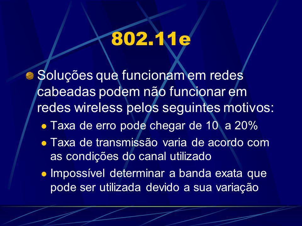802.11e Soluções que funcionam em redes cabeadas podem não funcionar em redes wireless pelos seguintes motivos: