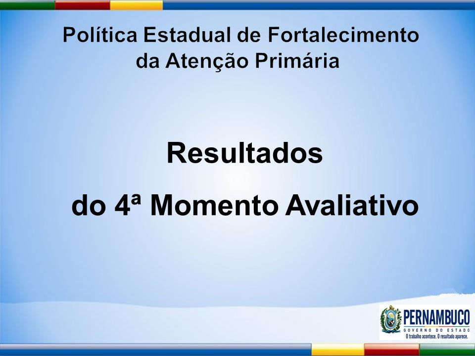Política Estadual de Fortalecimento do 4ª Momento Avaliativo