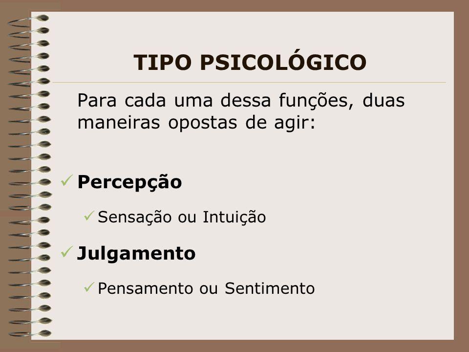 TIPO PSICOLÓGICO Para cada uma dessa funções, duas maneiras opostas de agir: Percepção. Sensação ou Intuição.