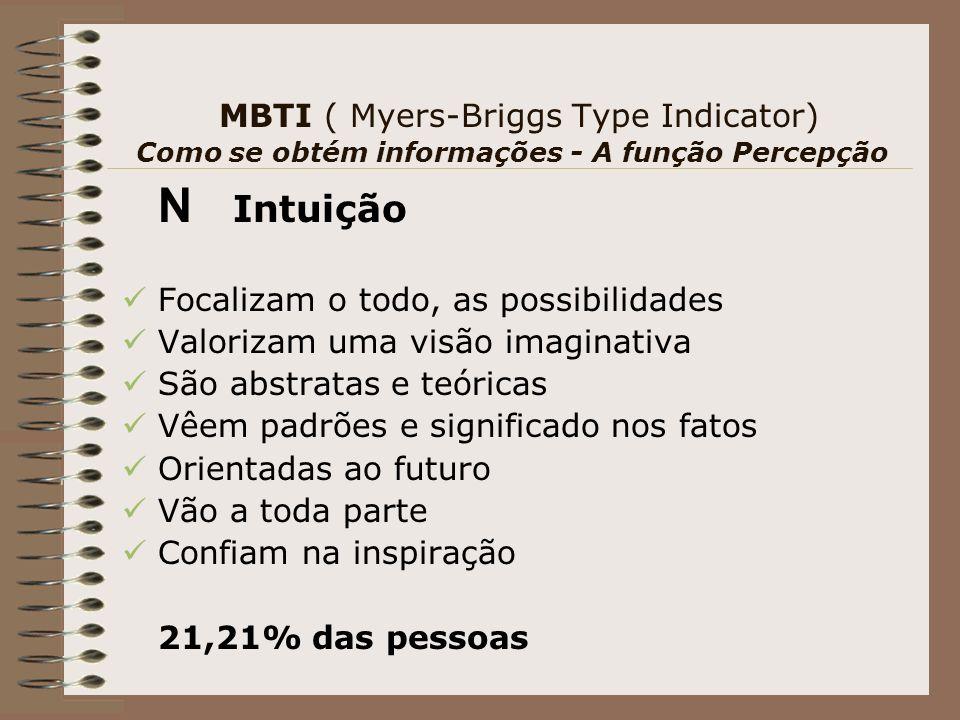 MBTI ( Myers-Briggs Type Indicator) Como se obtém informações - A função Percepção