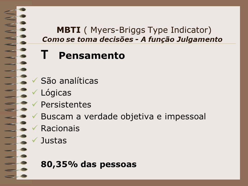 MBTI ( Myers-Briggs Type Indicator) Como se toma decisões - A função Julgamento