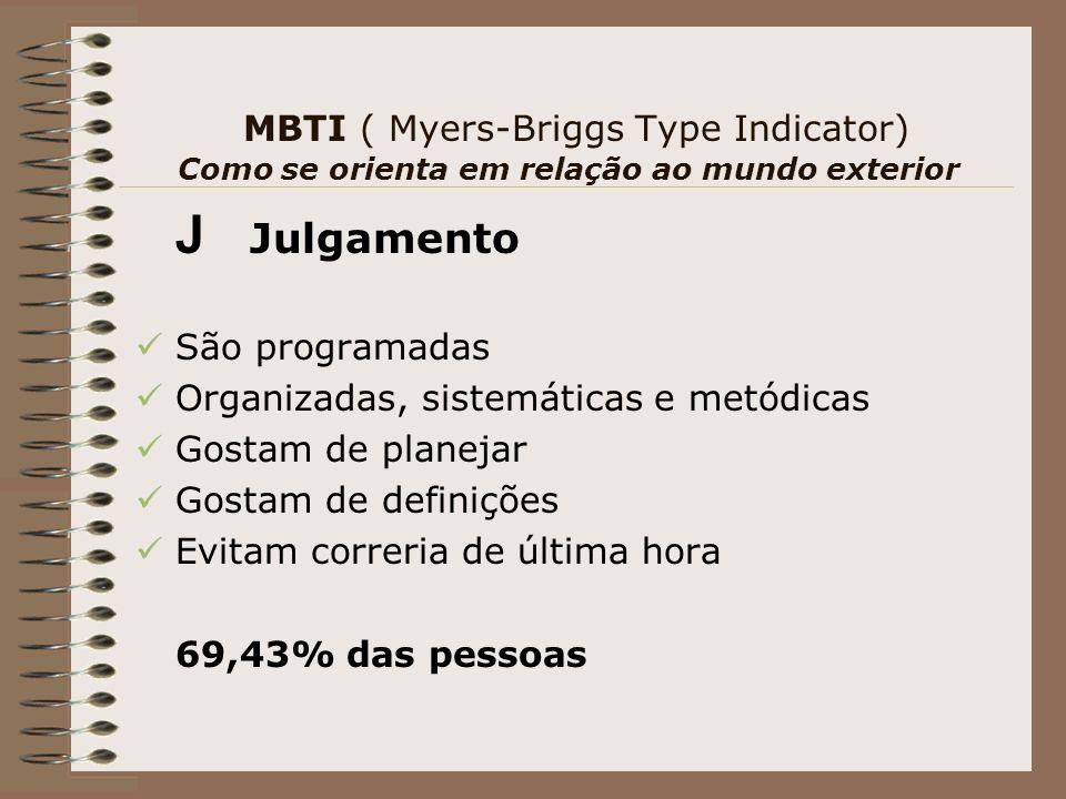 MBTI ( Myers-Briggs Type Indicator) Como se orienta em relação ao mundo exterior