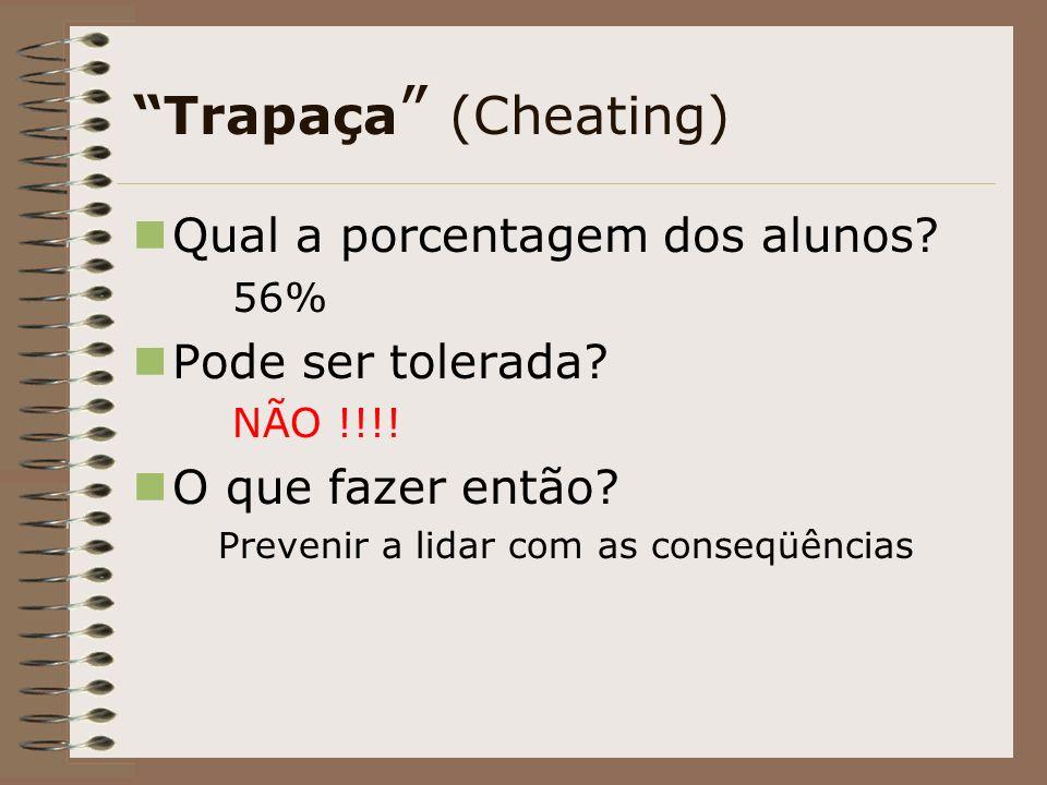 Trapaça (Cheating) Qual a porcentagem dos alunos Pode ser tolerada