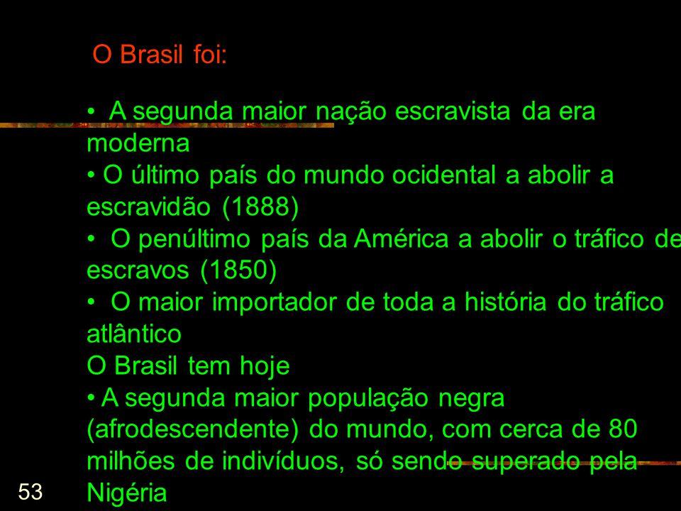 O Brasil foi: A segunda maior nação escravista da era moderna. O último país do mundo ocidental a abolir a escravidão (1888)