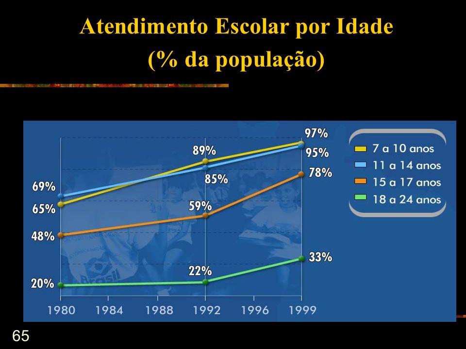 Atendimento Escolar por Idade (% da população)