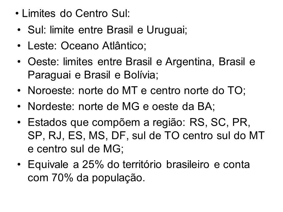 Limites do Centro Sul: Sul: limite entre Brasil e Uruguai; Leste: Oceano Atlântico;