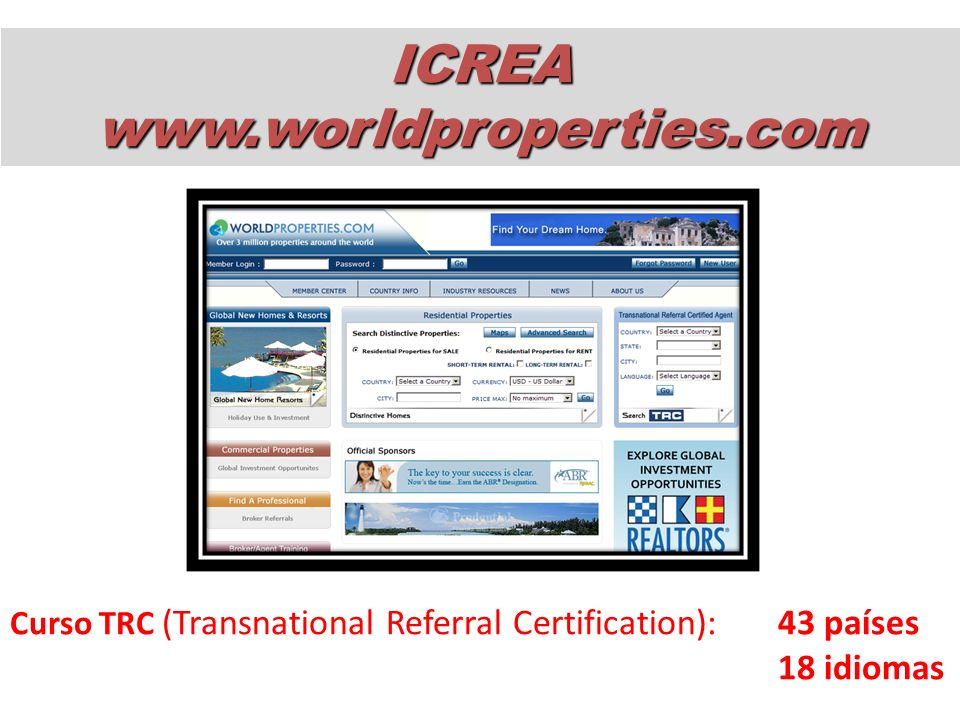 ICREA www.worldproperties.com 18 idiomas
