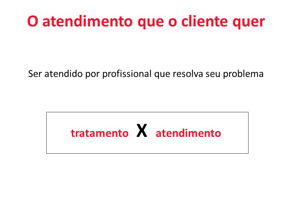 O atendimento que o cliente quer tratamento X atendimento