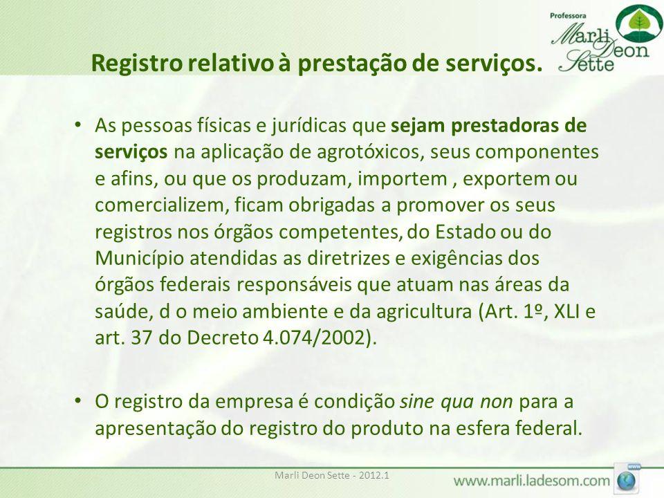 Registro relativo à prestação de serviços.
