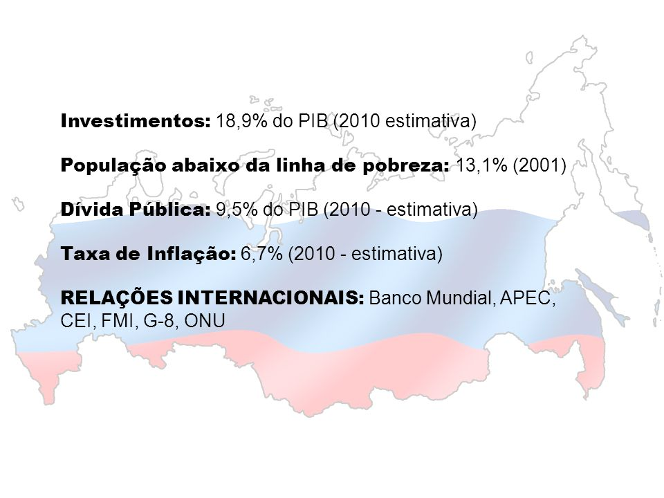 Investimentos: 18,9% do PIB (2010 estimativa)