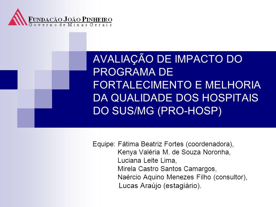 AVALIAÇÃO DE IMPACTO DO PROGRAMA DE FORTALECIMENTO E MELHORIA DA QUALIDADE DOS HOSPITAIS DO SUS/MG (PRO-HOSP)