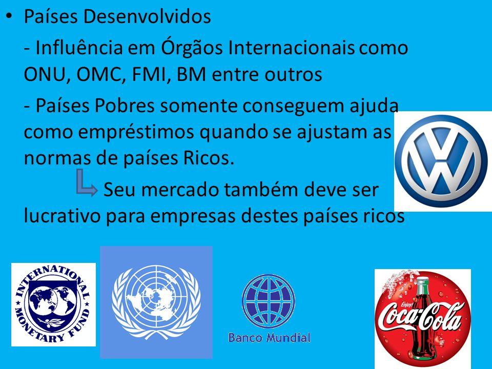 Países Desenvolvidos - Influência em Órgãos Internacionais como ONU, OMC, FMI, BM entre outros.