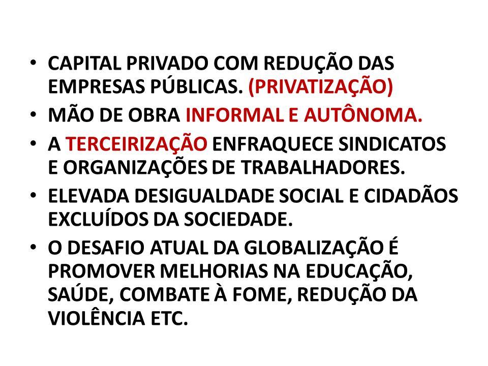CAPITAL PRIVADO COM REDUÇÃO DAS EMPRESAS PÚBLICAS. (PRIVATIZAÇÃO)