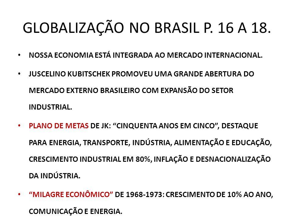 GLOBALIZAÇÃO NO BRASIL P. 16 A 18.
