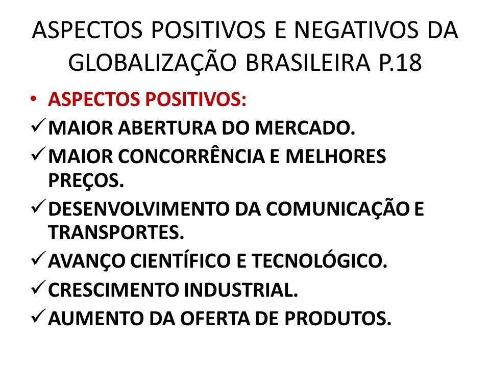 ASPECTOS POSITIVOS E NEGATIVOS DA GLOBALIZAÇÃO BRASILEIRA P.18
