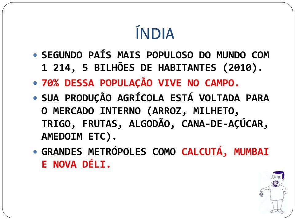 ÍNDIA SEGUNDO PAÍS MAIS POPULOSO DO MUNDO COM 1 214, 5 BILHÕES DE HABITANTES (2010). 70% DESSA POPULAÇÃO VIVE NO CAMPO.