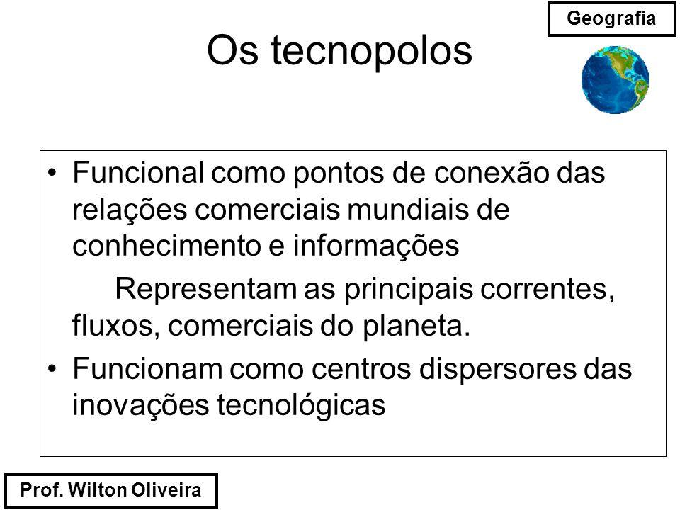 Os tecnopolos Funcional como pontos de conexão das relações comerciais mundiais de conhecimento e informações.