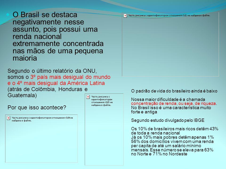O Brasil se destaca negativamente nesse assunto, pois possui uma renda nacional extremamente concentrada nas mãos de uma pequena maioria