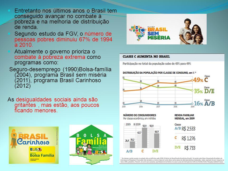 Entretanto nos últimos anos o Brasil tem conseguido avançar no combate à pobreza e na melhoria de distribuição de renda.