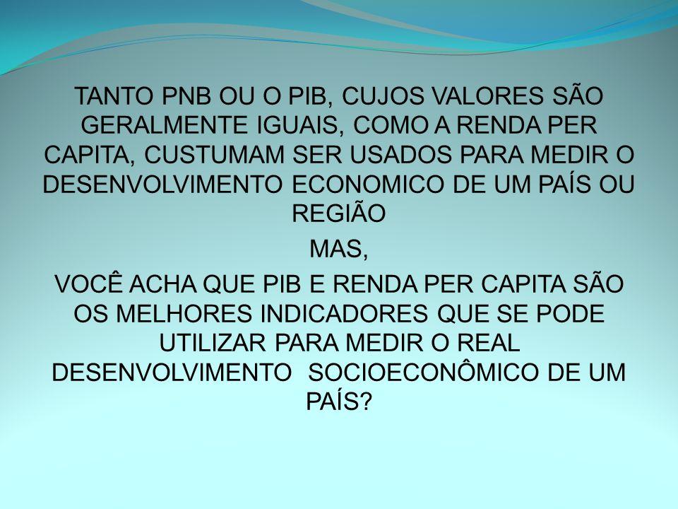 TANTO PNB OU O PIB, CUJOS VALORES SÃO GERALMENTE IGUAIS, COMO A RENDA PER CAPITA, CUSTUMAM SER USADOS PARA MEDIR O DESENVOLVIMENTO ECONOMICO DE UM PAÍS OU REGIÃO