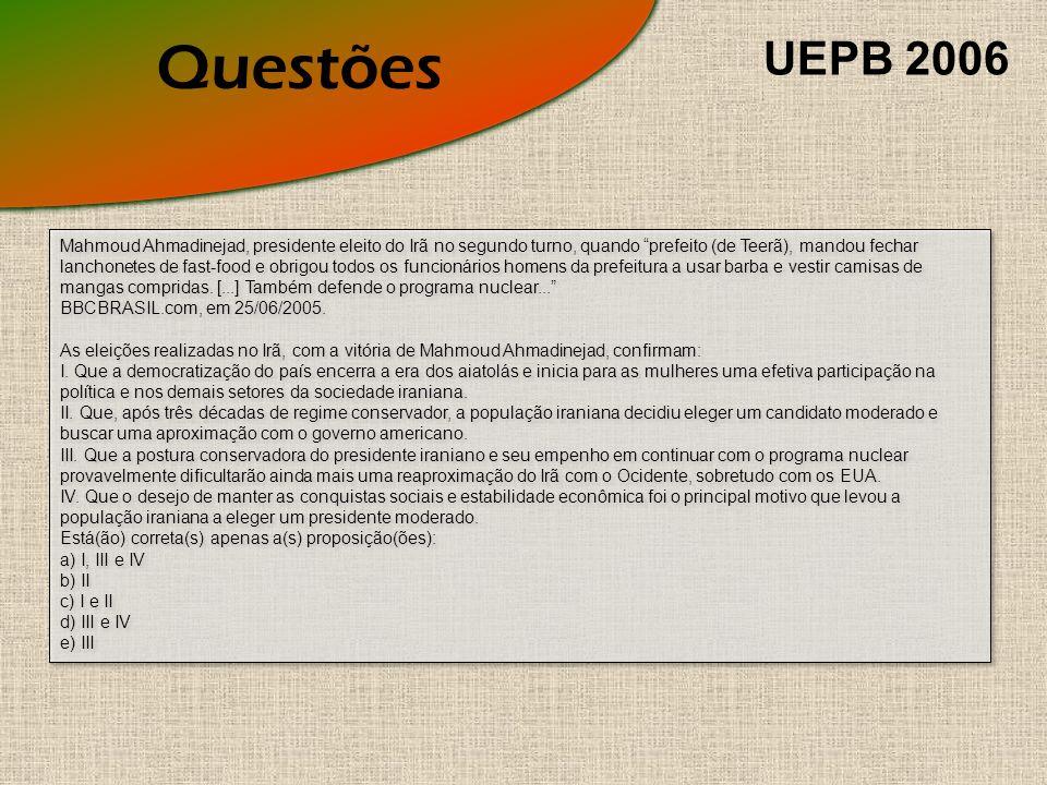 Questões UEPB 2006.