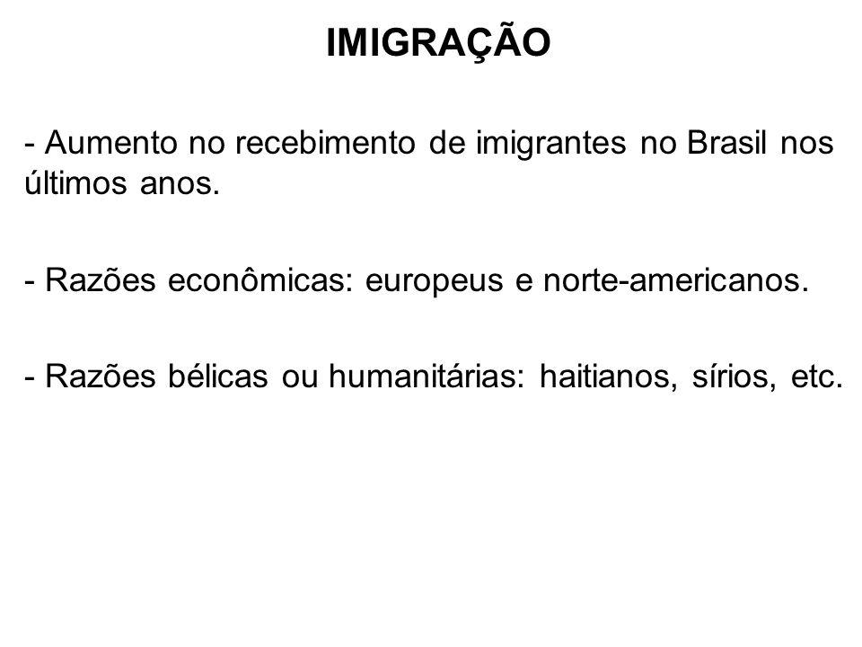 IMIGRAÇÃO - Aumento no recebimento de imigrantes no Brasil nos últimos anos. - Razões econômicas: europeus e norte-americanos.