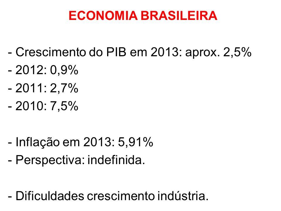 ECONOMIA BRASILEIRA - Crescimento do PIB em 2013: aprox. 2,5%