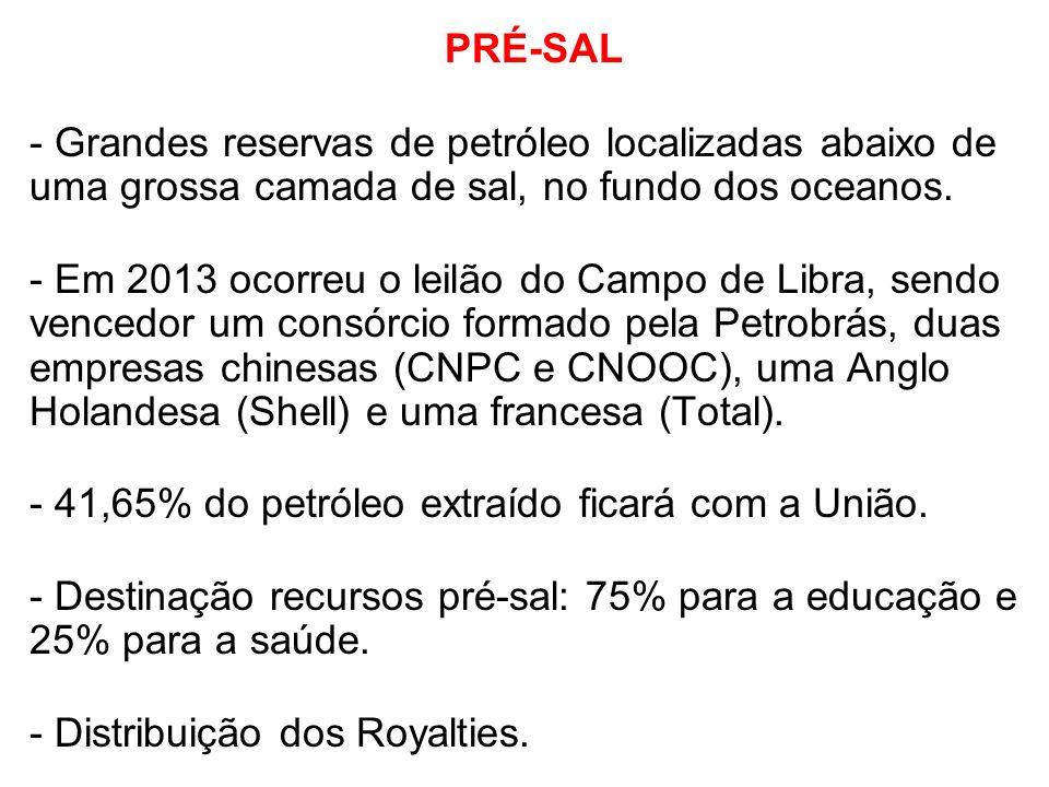 PRÉ-SAL - Grandes reservas de petróleo localizadas abaixo de uma grossa camada de sal, no fundo dos oceanos.