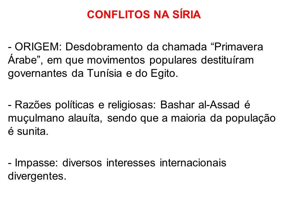 CONFLITOS NA SÍRIA - ORIGEM: Desdobramento da chamada Primavera Árabe , em que movimentos populares destituíram governantes da Tunísia e do Egito.