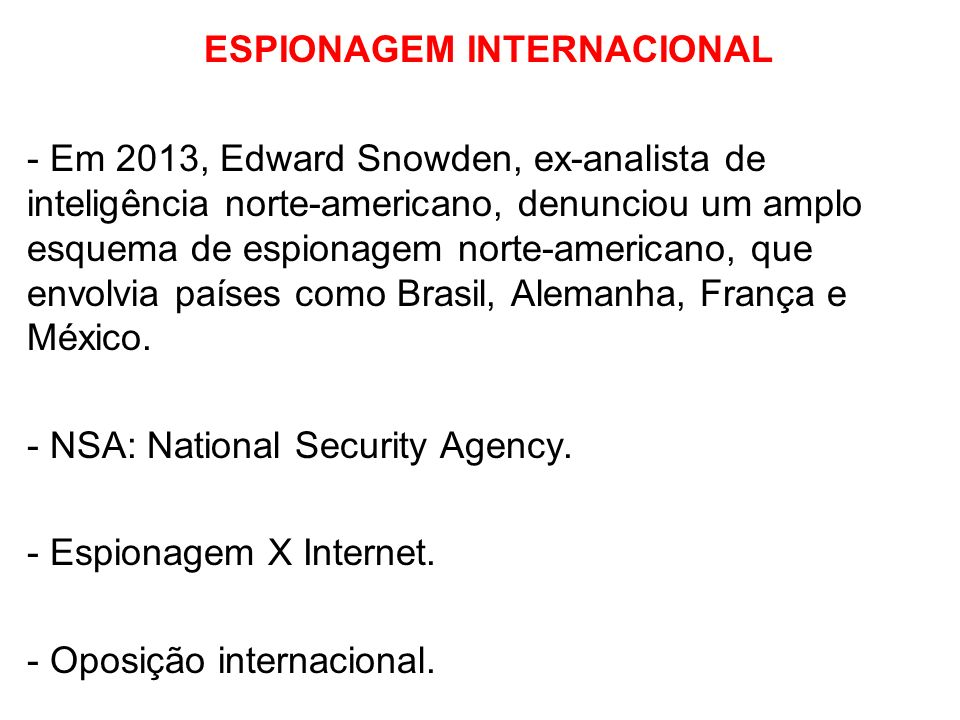 ESPIONAGEM INTERNACIONAL