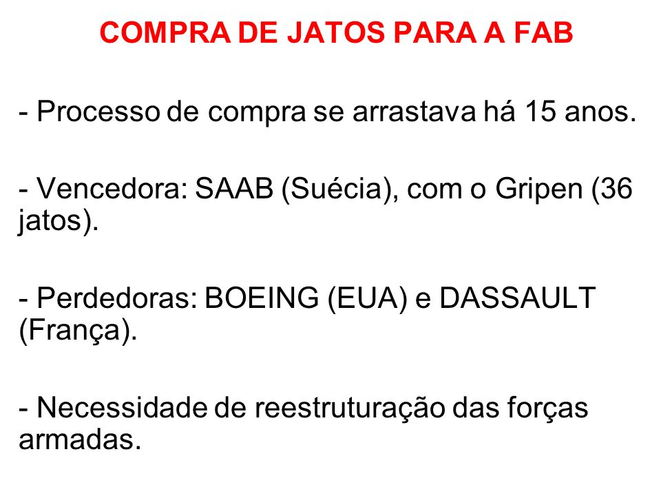 COMPRA DE JATOS PARA A FAB
