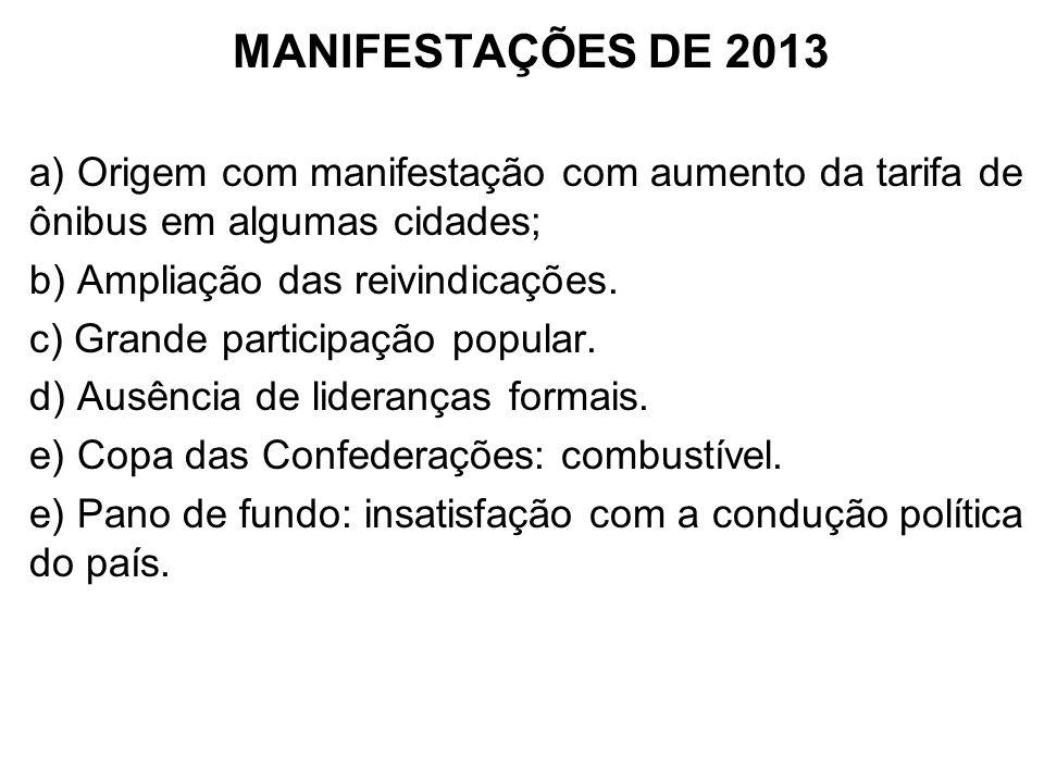 MANIFESTAÇÕES DE 2013 a) Origem com manifestação com aumento da tarifa de ônibus em algumas cidades;