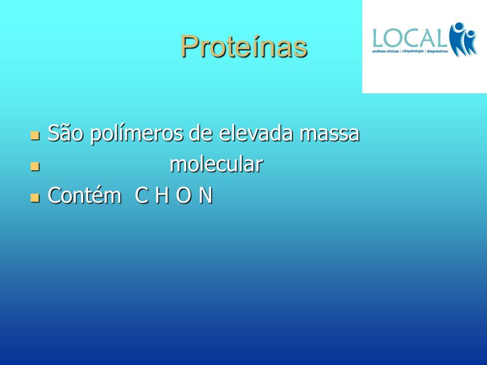 Proteínas São polímeros de elevada massa molecular Contém C H O N