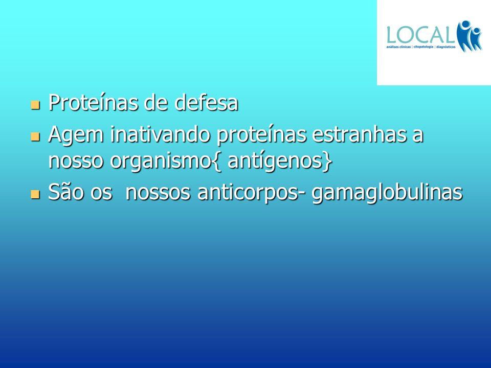 Proteínas de defesa Agem inativando proteínas estranhas a nosso organismo{ antígenos} São os nossos anticorpos- gamaglobulinas.