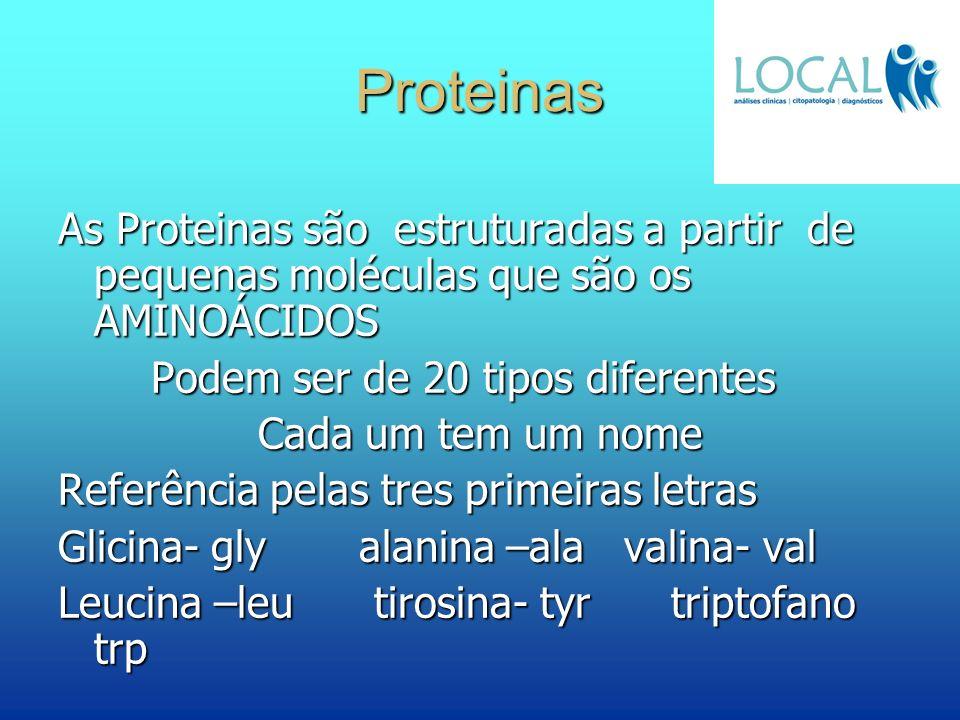 Proteinas As Proteinas são estruturadas a partir de pequenas moléculas que são os AMINOÁCIDOS. Podem ser de 20 tipos diferentes.