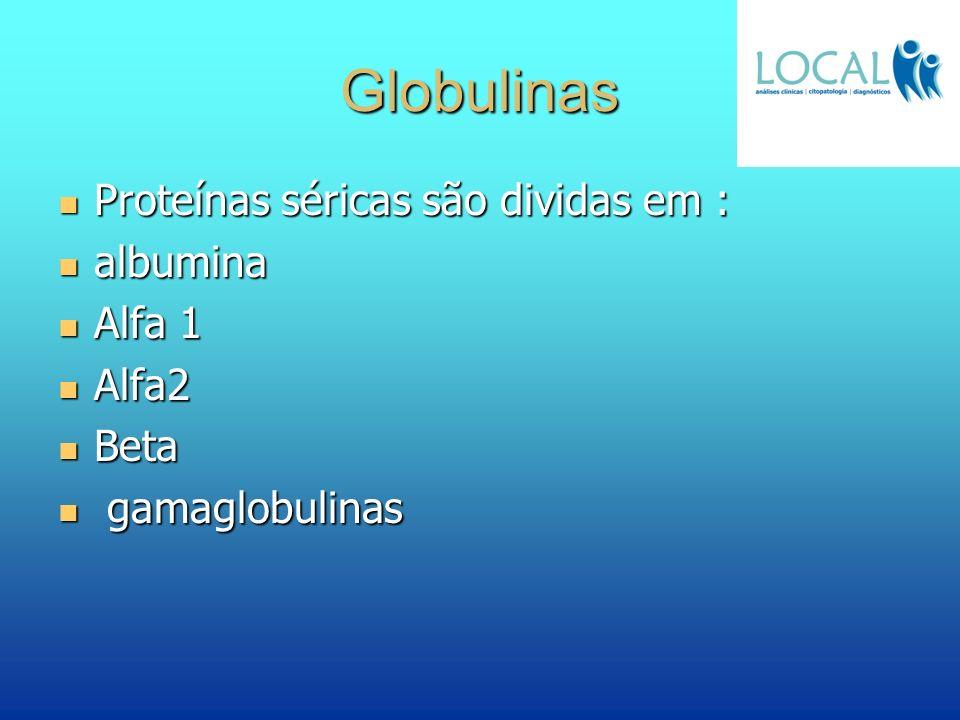 Globulinas Proteínas séricas são dividas em : albumina Alfa 1 Alfa2