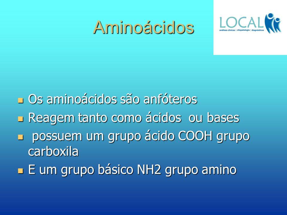 Aminoácidos Os aminoácidos são anfóteros