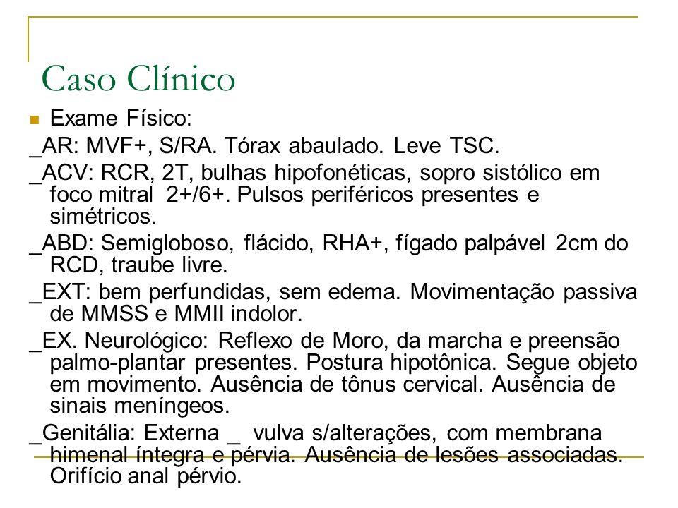 Caso Clínico Exame Físico: _AR: MVF+, S/RA. Tórax abaulado. Leve TSC.