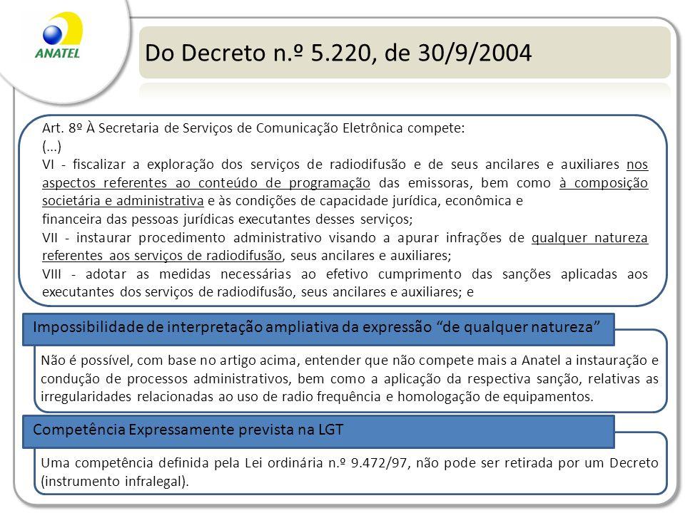 Do Decreto n.º 5.220, de 30/9/2004 Art. 8º À Secretaria de Serviços de Comunicação Eletrônica compete: