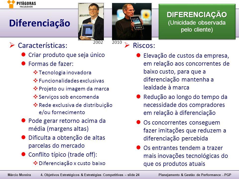 Diferenciação Características: Riscos: DIFERENCIAÇÃO